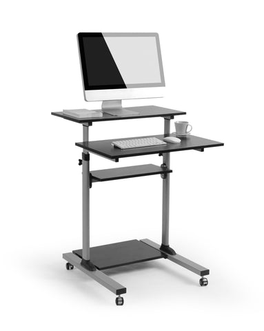 Mobile Stand Up Desk/Height Adjustable Computer Work Station Rolling Presentation Cart (for Monitor or Laptop), (MCT07)