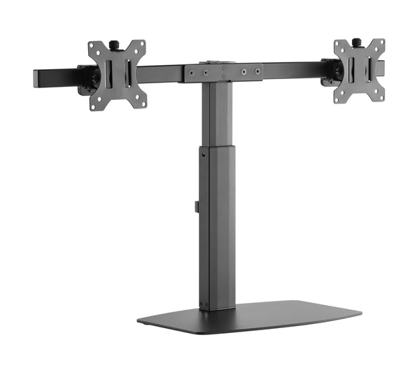 Freestanding Pneumatic Vertical Lift Dual Monitor Stand - Adjustable Monitor Mount, Fits 2 Screens up to 27 Inch, Holds up to 6 kgs per Arm, Black (EFBGD)