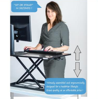 Instant Gas Spring Sit  Stand Converter Desk RTE