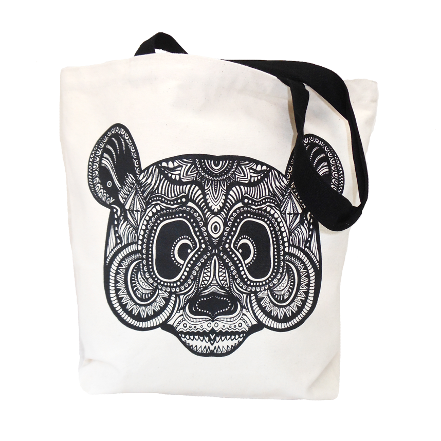 IKAT PANDA SHOPPER WHITE