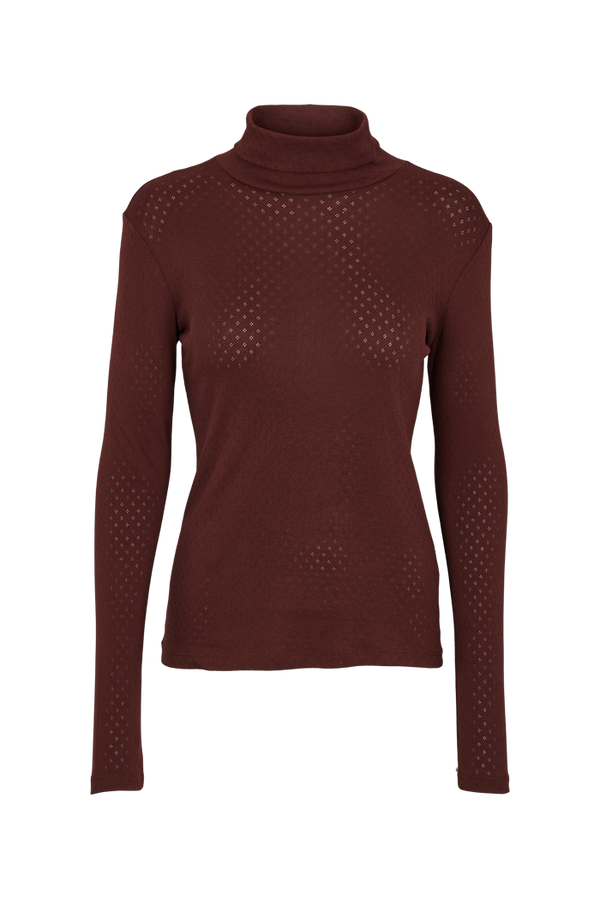 Basic Apparel Arense Roll neck - organic GOTS T-shirts 132 Bitter chocolate