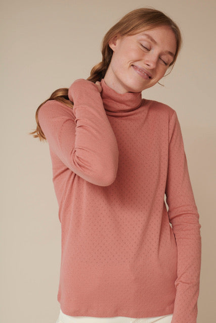 Basic Apparel Arense Roll neck - organic GOTS T-shirts 282 Old rose