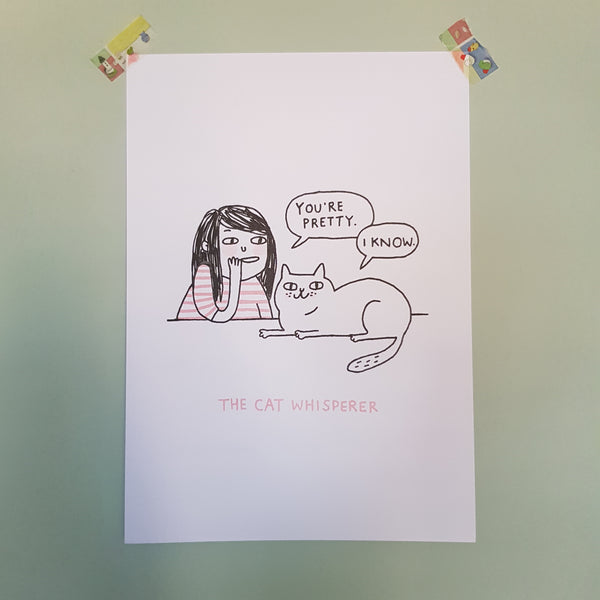 Cat Whisperer Riso Print A3