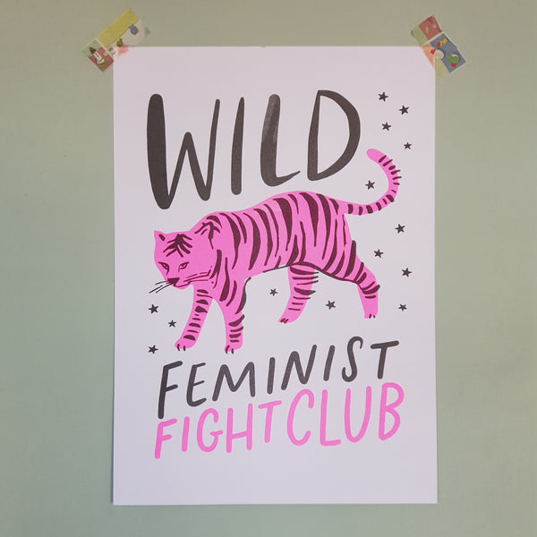 Wild Feminist Fight Club Riso Print A3