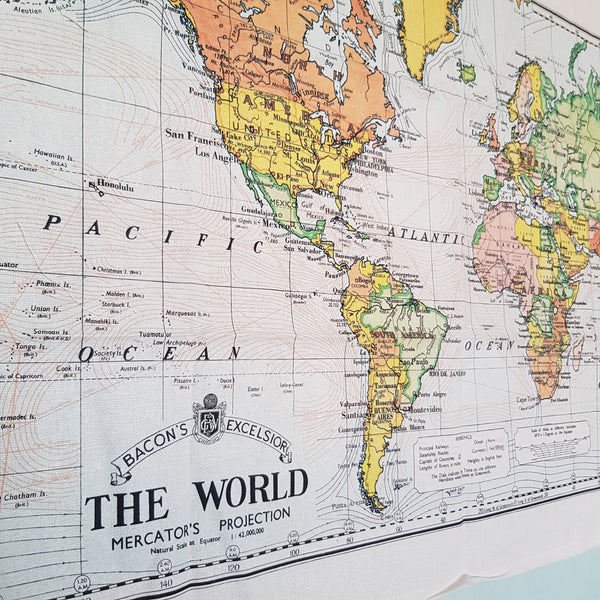 Vintage Tea Towel World Map