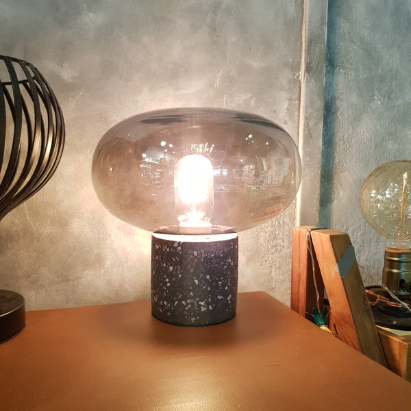 Terrazzo Base Glass Dome Table Lamp