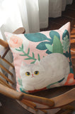 Cats & Plant Cushion Cover
