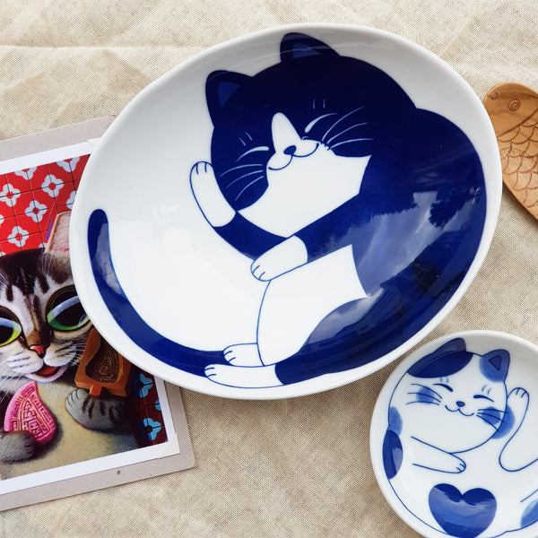 Oval Blue Print Sleepy Kitty Bowl