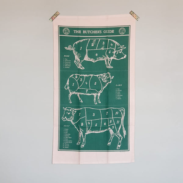 Vintage Butcher's Guide Tea Towel