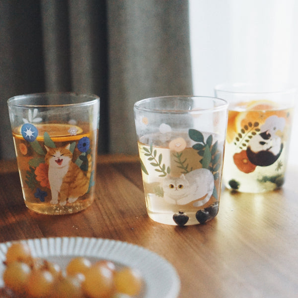 Cats & Plants Glass Cup