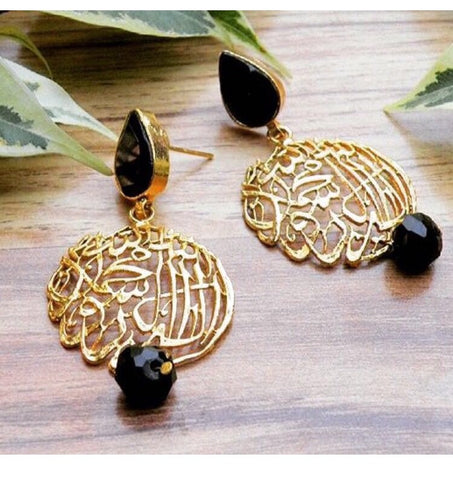 Scripted earrings in black and gold
