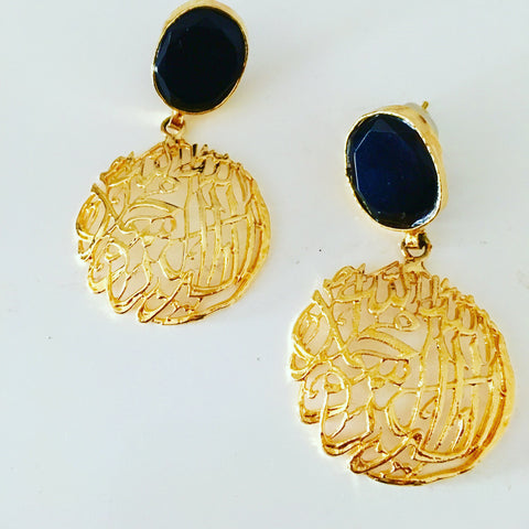 Project rich earrings, black and gold