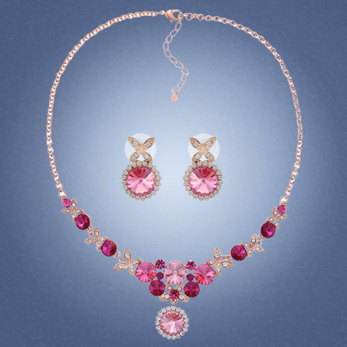 Dancing Butterflies Necklace & Earrings Set in 100% Swarovski Elements Crystals. Bridesmaids Jewellery Set in 4 Colour Combinations, Fuchsia Rose on Unique Rose Gold Plating, Topaz Mocha & Clear Diamond on 14k Gold & Clear Diamond on Silver Rhodium.