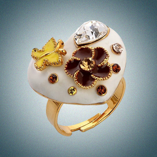 3ff1264cf Heart and Flower Costume Jewelry Ring, Free Size Heart Shape Ring w/ Swarovski  crystals