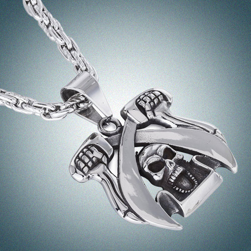 Janeo Men's Jewellery, Pirate Skull & Cutlass SwordStyle Pendant & Necklace in Classic Antique Stainless Steel. Thick, Unique Chain Design. A Solid Symmetrical Pendant for Goth Lovers; Real trendy. Perfect Birthday or Christmas Gift For Him. Great Price.
