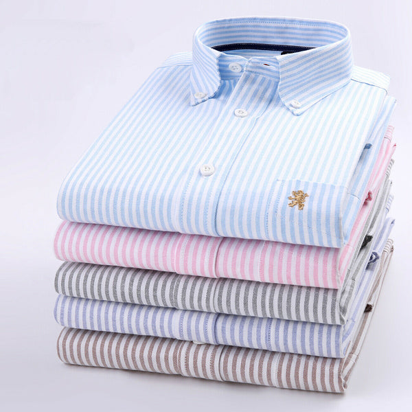 THE KENSINGTON OXFORD SHIRTS: Janeo British Apparel, Mens Long Sleeve Shirt, Button Down Collar,Pocket, Striped