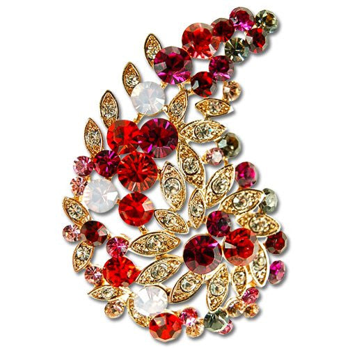 Fuchsia Swarovski Crystal Paisley Brooch. Indian Maharaja Style Crystal Pin.