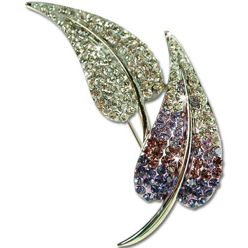 Decadent Leaf Brooch Pin, Art Deco Style with Amethyst Swarovski & Czech Crystals, Rhodium Plated