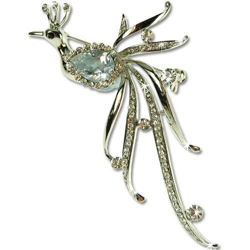 Royal Peacock Brooch Pin, Art Deco Haute Couture Style with Clear Swarovski & Czech Crystals, 14k Gold or Rhodium Plated.