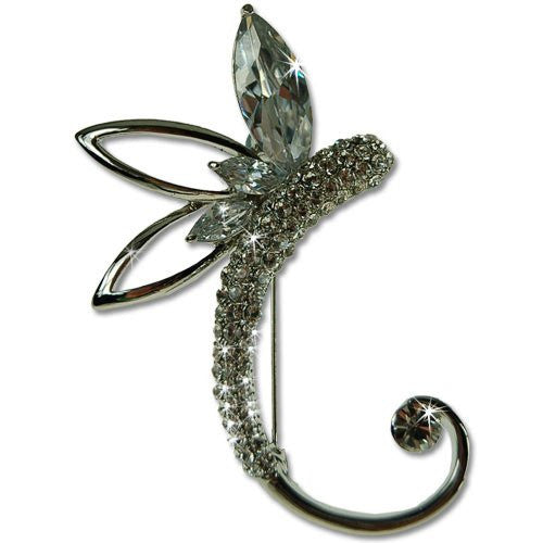 Dragonfly Styled Brooch, Parisian Haute Couture Style with Inlaid Amethyst & Clear Swarovski & Czech Crystals, Rhodium Plated.
