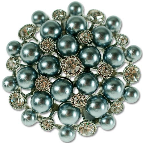 Round Symmetrical Graphite Pearl Brooch, Inlaid Clear Swarovski & Czech Crystals, Rhodium Plated.