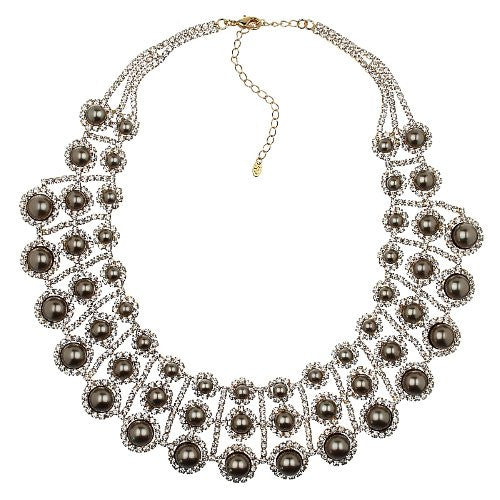 "Crystals & Pearls Jewellery Set. Clear Swarovski Crystals Elements on ""The Pearls of Love"" 3 Tiered Symmetrical Garland Style Designer Couture Necklace and Polished Glazed Quartz Pearls on a 14k Gold Plated Setting, Really Stunning Piece."