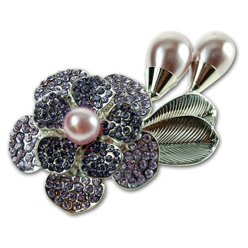 Flower & Leaf Pearl Brooch, Polished Grey Pearls with Inlaid Amethyst Swarovski & Czech Crystals, Rhodium Plated.