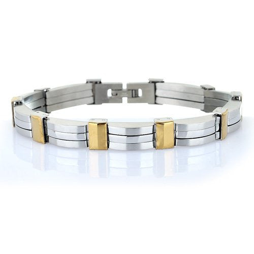 Men's Links Bracelet, in a Classic Monochrome& A Silver and Gold Version in a Symmetrical Style.Brushed & Polished Silver Effect Stainless Steel.Solid, Weighty Piece. Trendy Man Birthday Gift Idea