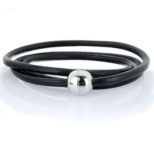 Men's Leather cord bracelet / necklace with Magnetic Stainless steel ball fasten