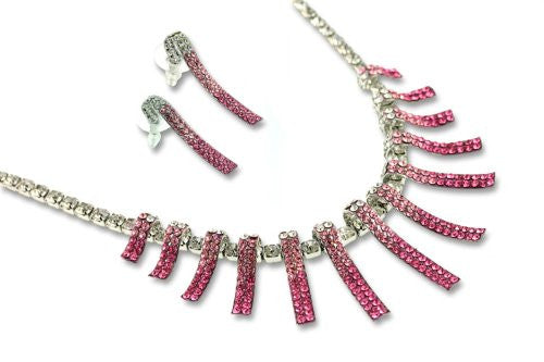 Beautiful Symmetrical Contemporary Swarovski Crystal Elements Necklace & Earrings Jewellery Set on a Garland Style Setting. Stunning Colour Combinations in Amethyst Purple,Topaz Yellow and Fuchsia Pink. 14k Gold or Silver Rhodium Plated.
