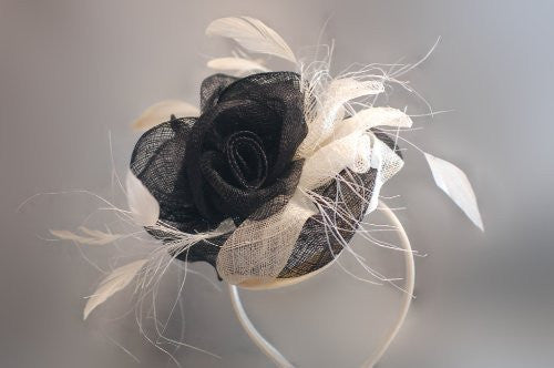 Occasion hats for Women, Lady Hats in Rose Flower trio with dainty feathers and decorative strands. Beautiful and classy! Two colour options.Our 'Chiswick' Fascinator.