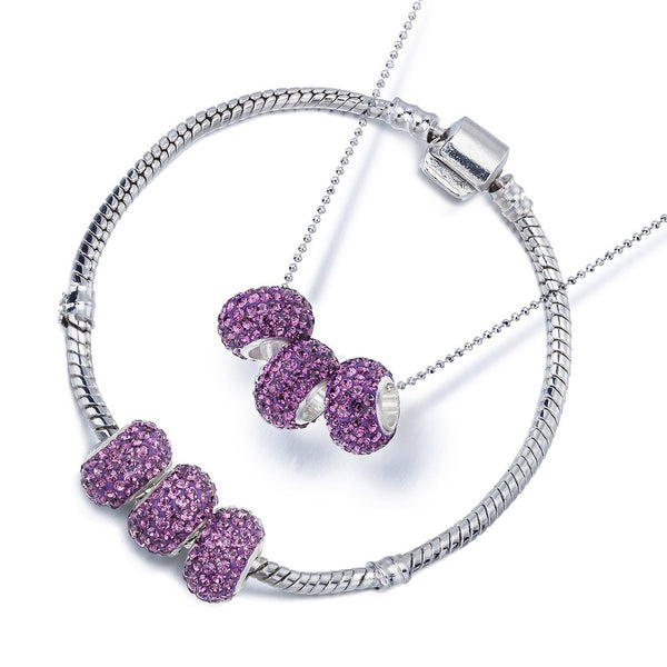 Swarovski Crystal Elements Charm Beads Necklace & Bangle Bracelet Set in Pandora Style, Silver Rhodium Fine Chain. Great Price for Luxury Style Jewellery. Also Sold Individually.