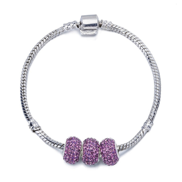 Swarovski Crystal Elements Charm Beads Bangle Bracelet, 3 Pandora Style Ball Bead Charns, Silver Rhodium Plated Finish at a Great Price for Shamballa Style Jewellery. 5 Stunning Colours