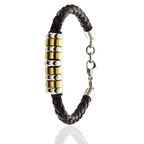 Mens Braided Cord Style, Genuine Leather Bracelet. Stainless steel rings in silver and Gold make it a real Stunner. Classy Looking, Symmetrical Platted leather Cord with Stainless Steel Accessories