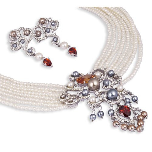 Bridal Jewellery or Vintage Statement Costume Jewellery at its best. Striking Ivory Pearls Strings Necklace set with a Dramatic Pendant with Crystals and coloured Pearls. Limited Edition Set