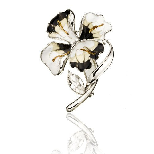 Vintage Flower Brooch Pin, Stylish Petals with Centre Swarovski crystals, enamel jewellery in Silver Rhodium or 14K Gold Plating, single Crystal leaf on stem. 3 colour options.