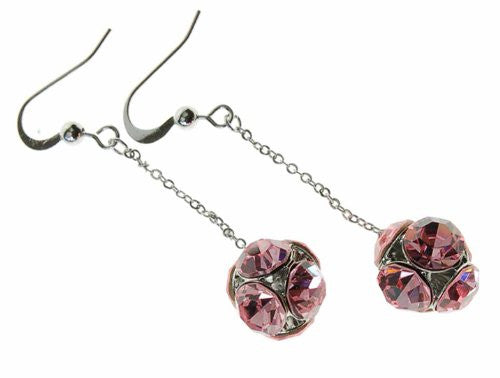 Drop Ball Swarovski Crystal Elements Dangling Earrings with Large Crystals Faceted on a Ball. Available in Rose Pink, Gold Ochre and Sapphire Blue. Stunning Christmas or Anniversary Gift Idea for Her