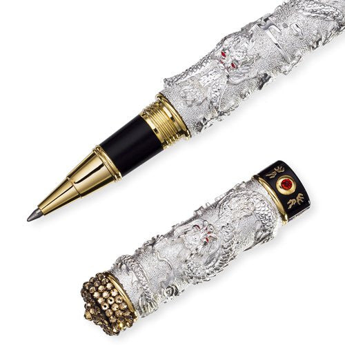 Unique 14K Gold & Silver Rhodium Plated Chinese Dragon Writing Pen with Swarovski Crystal Elements. Barrel of Swarovski Diamonds Top, Body of Pen in Stunning 3D Dragons in Silver. Art Deco Style