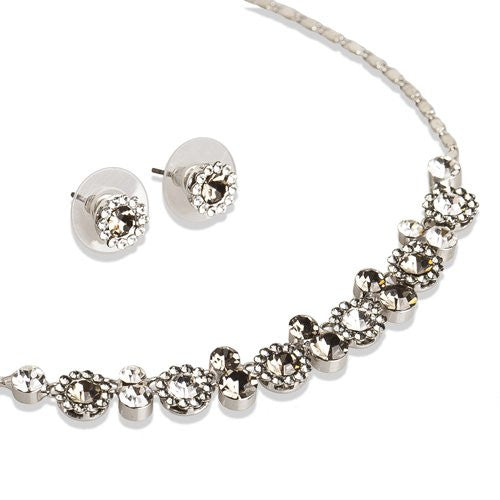 Swarovski® Melange Set; 100% Pure Swarovski Crystals in all Sizes Stunning Necklace and Matching Stud Earrings. Dainty Set for Every Occasion, Great for a Bridesmaids Wedding Theme.