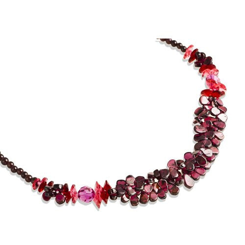 Swarovski® Amethyst Crystals Necklace; Classic Vintage Style, Precious Neckwear of the Highest Standard, Swarovski Amethyst Beads mixed with Topaz or Fuchsia Crystals to make a stunning combo.
