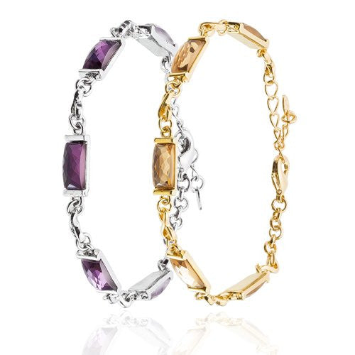 The Love Knot and Crystal Bracelet, Thin Rectangular Swarovski Crystal and Love Knots 14K Gold and Silver Rhodium Plated Options, Topaz on Gold and Silver on Amethyst Crystal Charms.
