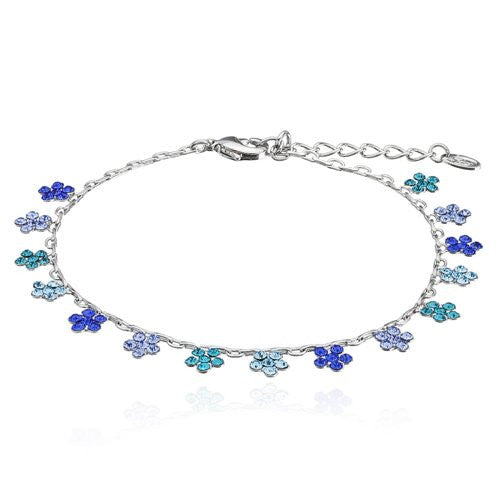 English Vintage Flower Charms Bracelet w/ Swarovski Crystals Elements. Delicate Crystals Daisies suspend from a fine Chain in this Decadent but Beautiful Charms Jewellery. 14K Gold and Silver Rhodium Plated Options, Amethyst Purple and Clear Diamond.