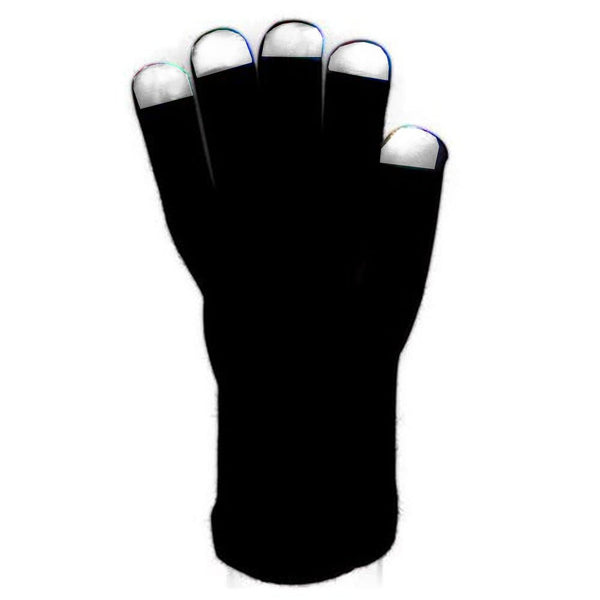 LED Light Gloves, Left and Right Hand Tech Crazy Gadget Accessory for any occasion! Black with White Finger Tips, 6 Amazing light settings programmed into the adjustable setting for different Flashing and Static Effects.