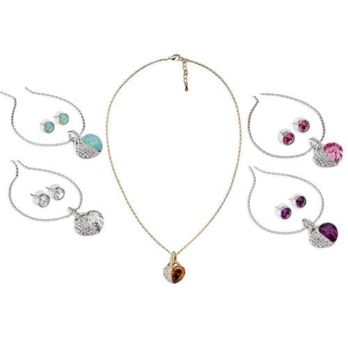 Hearts Necklace & Earrings Set in Swarovski Crystals Elements, the finest quality crystals. Jewellery set with Heart pendant with a large single Swarovski Pear Drop Diamond, and Clear Crystals.