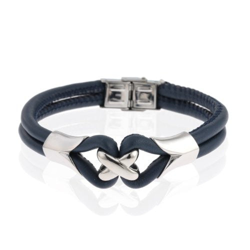 Celtic Love Knot His & Hers Gift Set Jewellery, Mensor Womens Twin Leather Strap Bangle Bracelet, Leather & Stainless Steel, Classic Celtic Design Jewellery