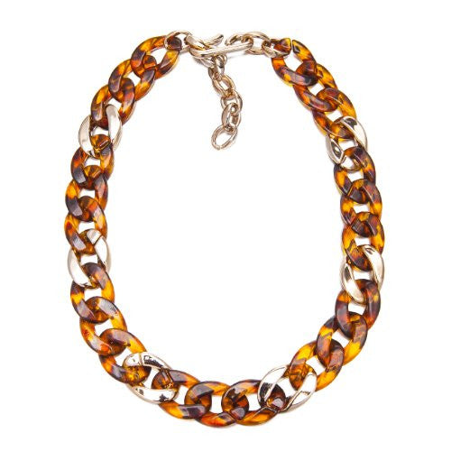 Faux Tortoise Shell & Lucite Rose Gold Classic Style Round Oval Cut Links Chunky Fashion Necklace. Christmas Sale, Gift For Her. Designer Necklace at Great Price.