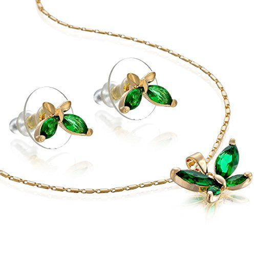 Luxury Budget Gift Ideas For Her, 14K Gold or Silver Rhodium Plated Butterfly Necklace & Earrings Set. Great Value for semi-precious Plating and Finest Czech Pear drops Crystals.