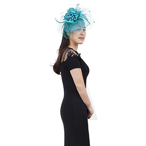 Janeo Cecelia Fascinator, Voluminous Swirls Bows & Roses in Satin fabric on a wide Brim Sinamay Fabric Contoured Base, Net Veil & Feathers,Off White,Champaign,Porcelain Blue,Electric Blue & Aqua Jade