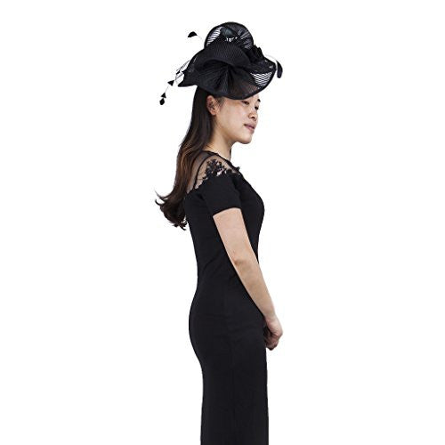 Janeo BEATRIX Fascinator, Wide Brimmed Contoured in Swirls on a large Circular Brim. Structured Pleated Open Net Fabric,with a Satin Rose and Feather Plumes. Large Size,White, Black,Champaign,Blue.