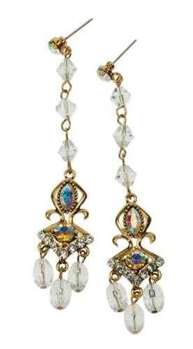Vintage Victorian Swarovski Crystal Elements Decorative Drop Earrings. Available in Sapphire Blue, Pink Fuchsia Rose or Clear  Diamond on an Antique 14K Gold Plated Finish. Beautiful Jewellery for Christmas Gift Ideas for Her at a Great Sale Price